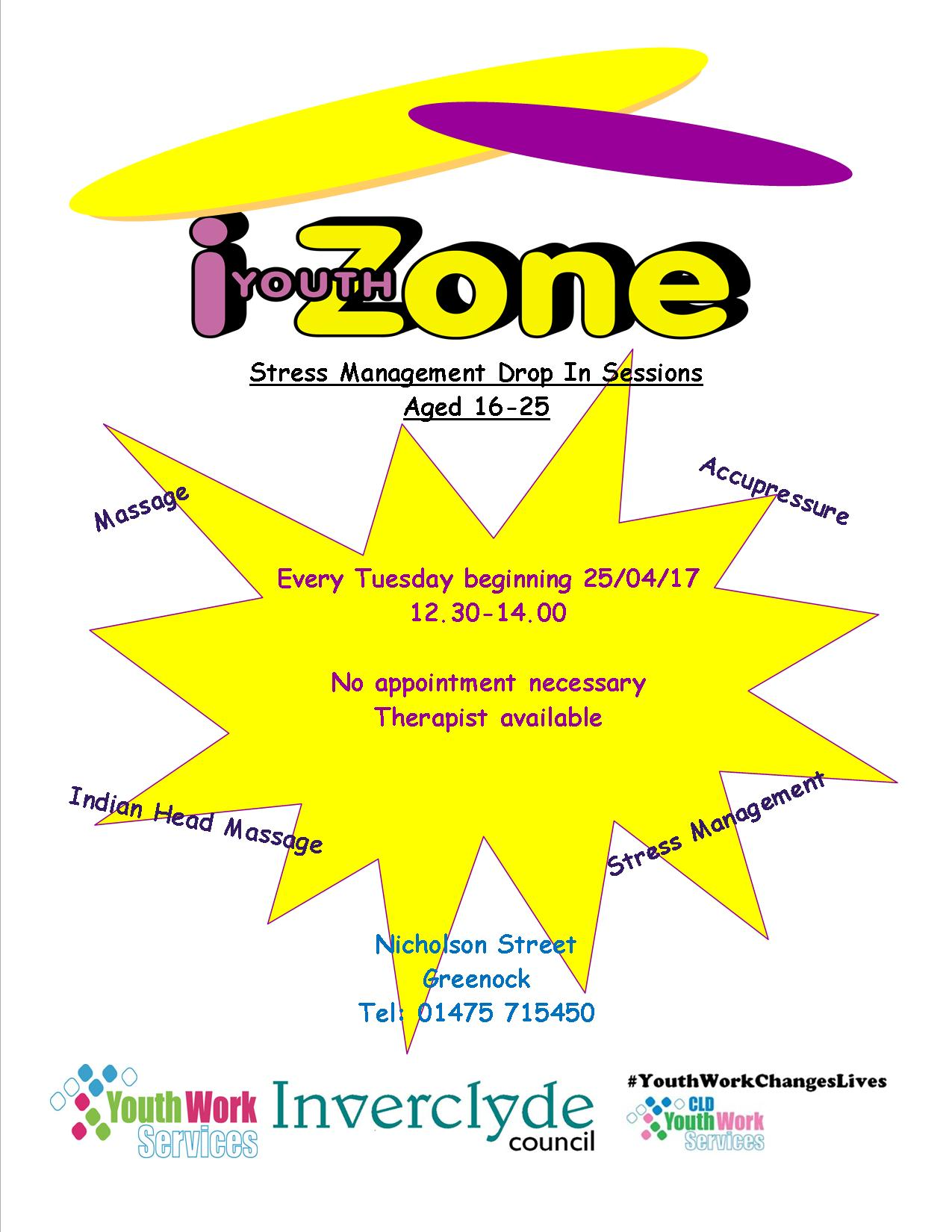 I Youth Zone - Stress Management Drop In Sessions Poster