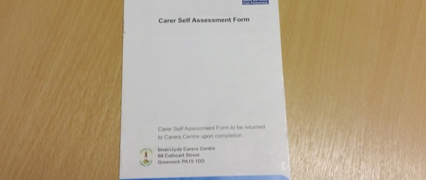 image of front page of a carers self assessment in landscape format