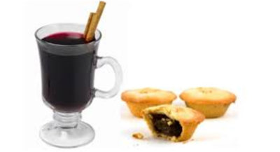 image of mulled wine along with some mince pies